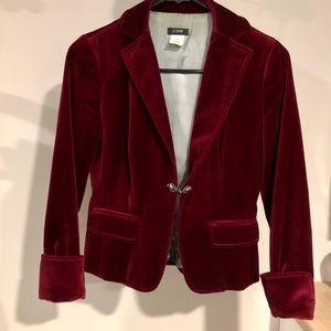 J Crew burgundy velvet blazer 2P